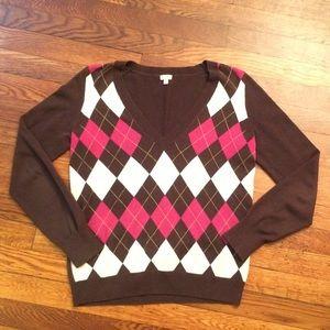 J.Crew Brown & Pink Vneck Argyle Sweater Sz Small